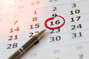 marked calendar showing recurring special events through the year