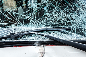 Bus windshield shattered after crash