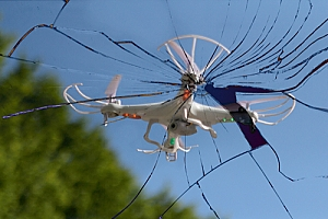 Drone crashed into window