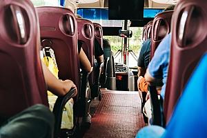 Interior of public bus shuttle