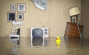 Flooded interior of a home. In such a situation, a flood insurance policy may provide compensation to homeowners.