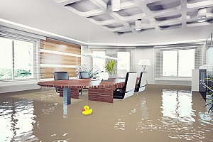 a flooded conference room that will need to be covered by flood insurance