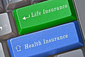 Life and health insurance on keyboard