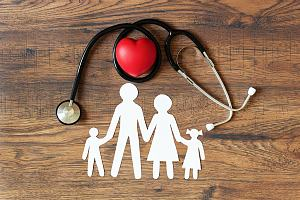 Stethoscope above paper family