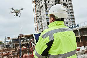 Construction worker using commercial drone