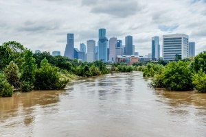downtown city with a flood or all people learning Who needs flood insurance