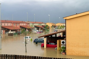 city drowned in flood