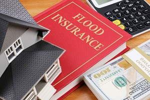 flood insurance book guide with calculator and money