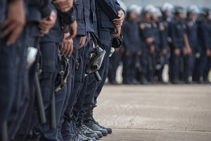 police riot used shields and batons to practice outdoors needing police officers insurance